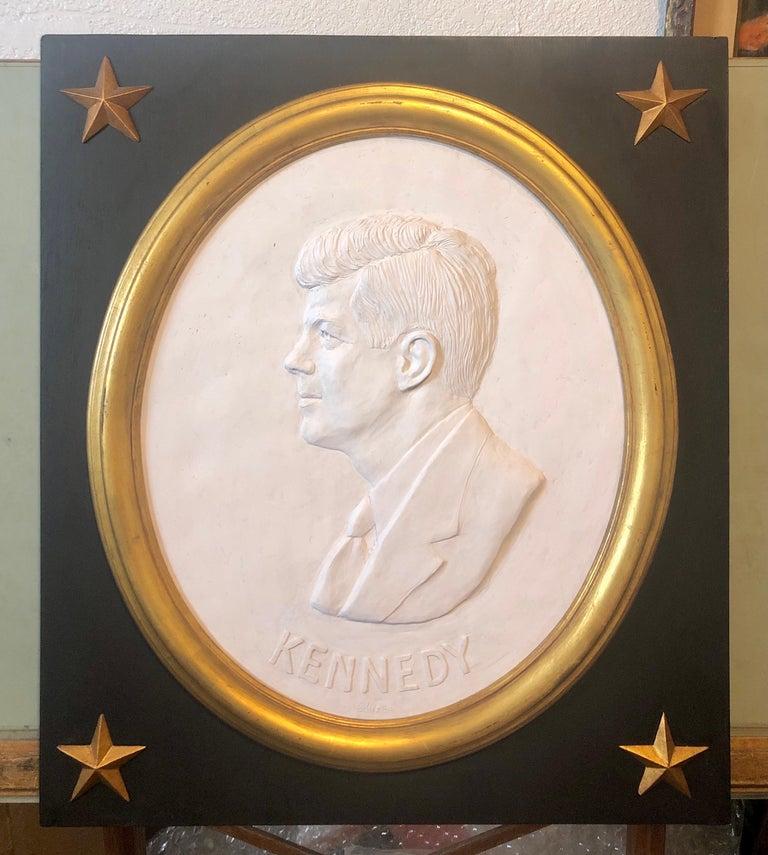 Texas Artist David Pryor Adickes John F Kennedy Bas Relief Painted Sculpture For Sale 8