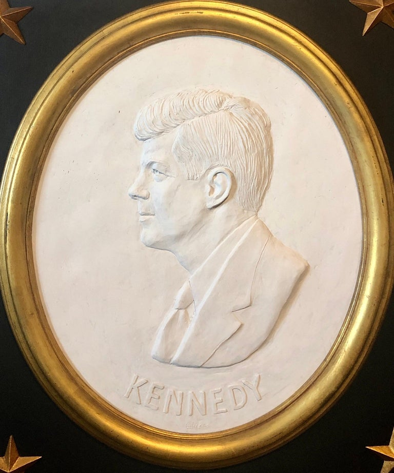 Texas Artist David Pryor Adickes John F Kennedy Bas Relief Painted Sculpture - Brown Figurative Sculpture by David Adickes