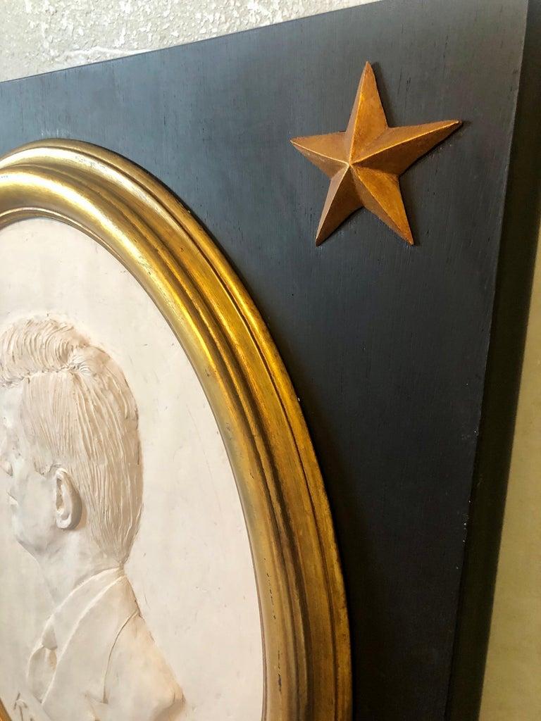 Texas Artist David Pryor Adickes John F Kennedy Bas Relief Painted Sculpture For Sale 3