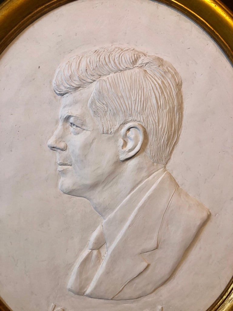 Texas Artist David Pryor Adickes John F Kennedy Bas Relief Painted Sculpture For Sale 4