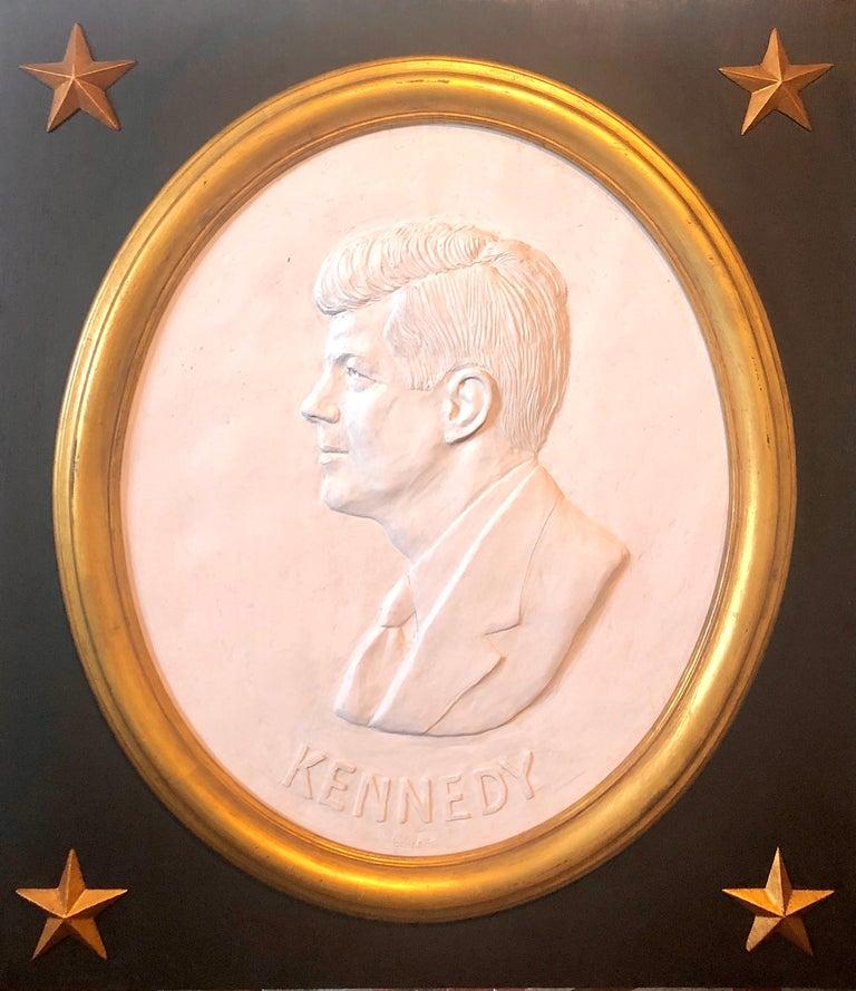 David Adickes Figurative Sculpture - Texas Artist David Pryor Adickes John F Kennedy Bas Relief Painted Sculpture