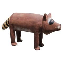 Modern Contemporary Wooden Hand Carved Raccoon Folk Art Sculpture
