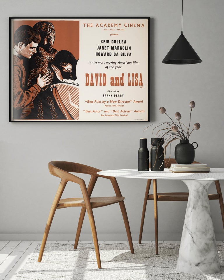 The original Academy Cinema British film poster for Frank Perry's acclaimed David and Lisa. Peter Strausfeld's design is undeniably the finest for the title.  Cologne born Strausfeld came to England in 1938. Whilst interned on the Isle of Man