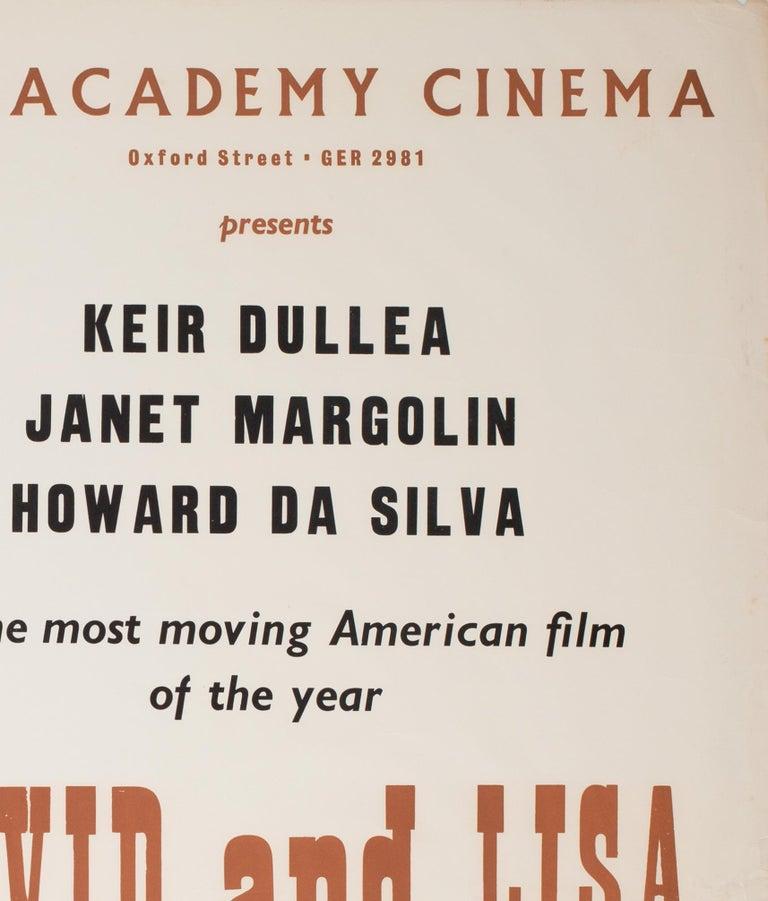 20th Century David and Lisa 1963 Academy Cinema UK Quad Film Poster, Strausfeld For Sale