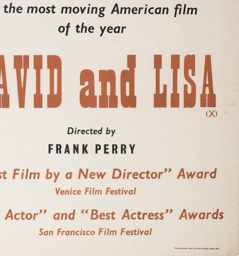 David and Lisa 1963 Academy Cinema UK Quad Film Poster, Strausfeld For Sale 2
