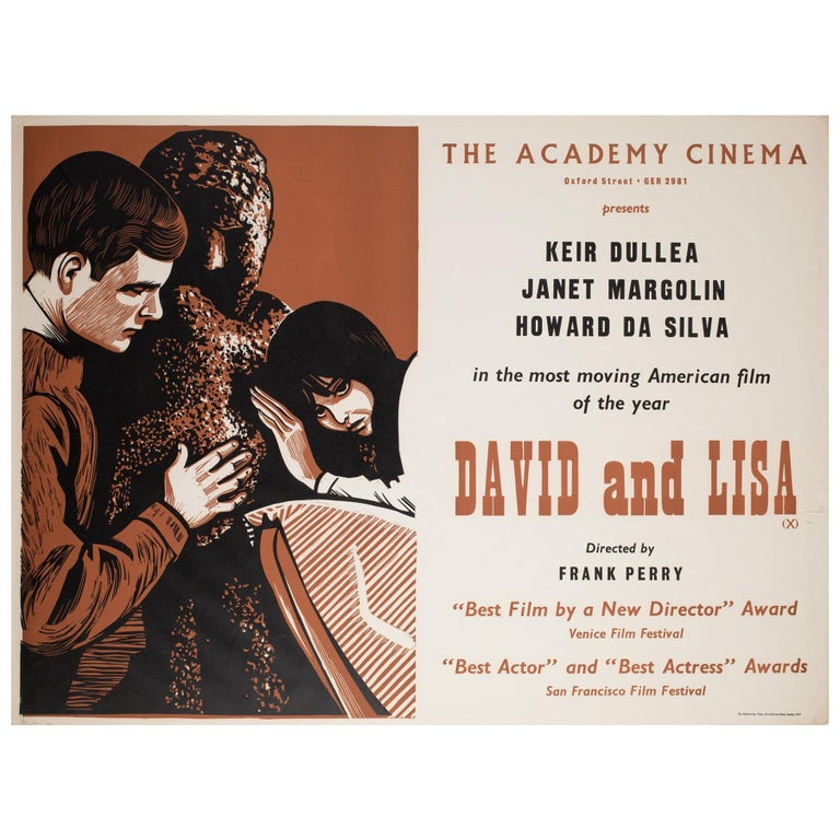 David and Lisa 1963 Academy Cinema UK Quad Film Poster, Strausfeld For Sale