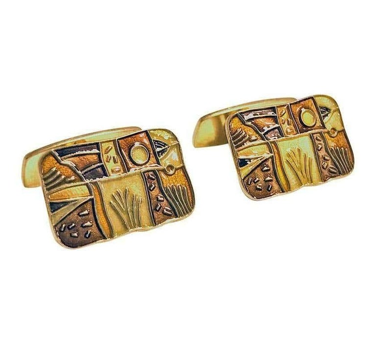 Andersen enamel sterling silver with vermeuil finish `Fall' Cufflinks, Oslo, Norway C.1959 by David Andersen. The Cufflinks each of rectangular shaped form inlaid with a varied orange, brown and gold enamel colours of an art style. These Cufflinks