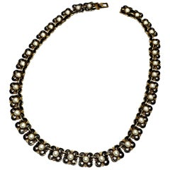 David Andersen Gold Vermeil over Sterling Silver Black and White Enamel Necklace