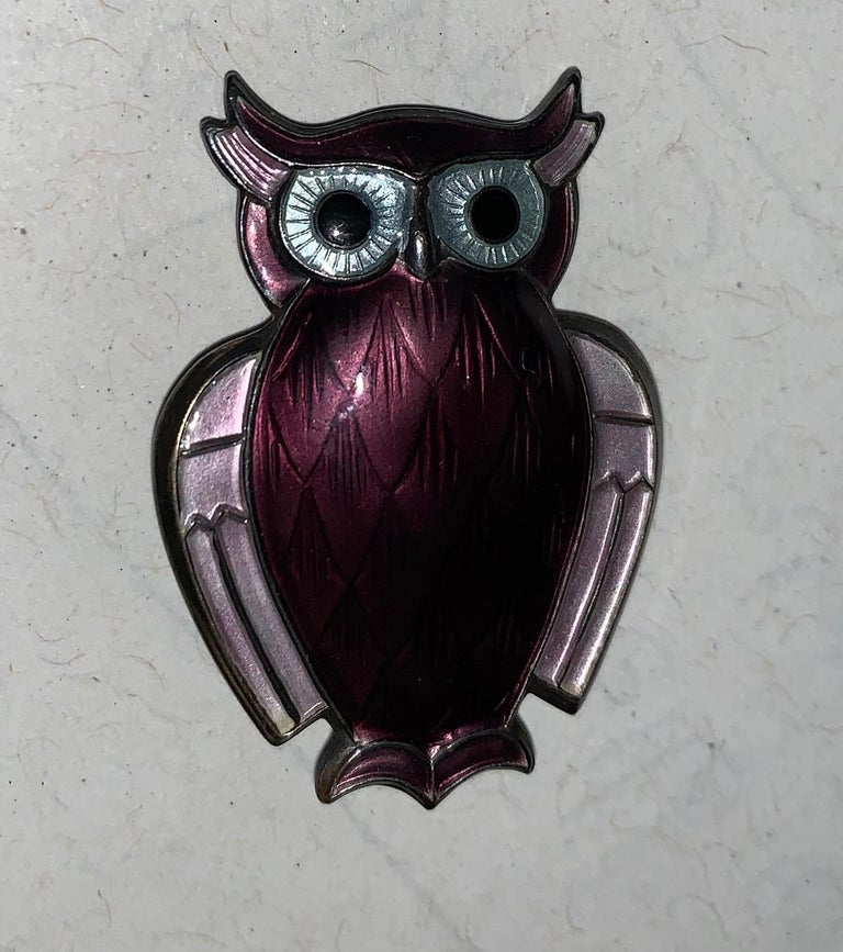 Mid-Century Modern David Andersen Norwegian Purple Enameled Silver Brooch For Sale