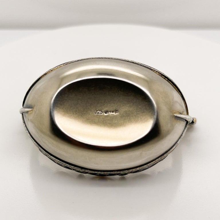 David Andersen Plique a Jour Enamel & Sterling Silver Viking Boat Salt Cellar For Sale 6