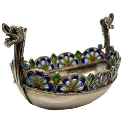 David Andersen Plique a Jour Enamel & Sterling Silver Viking Boat Salt Cellar