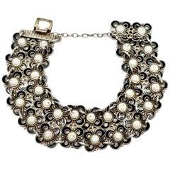 David Andersen Sterling Silver Black and White Enamel Double Row Flower Bracelet