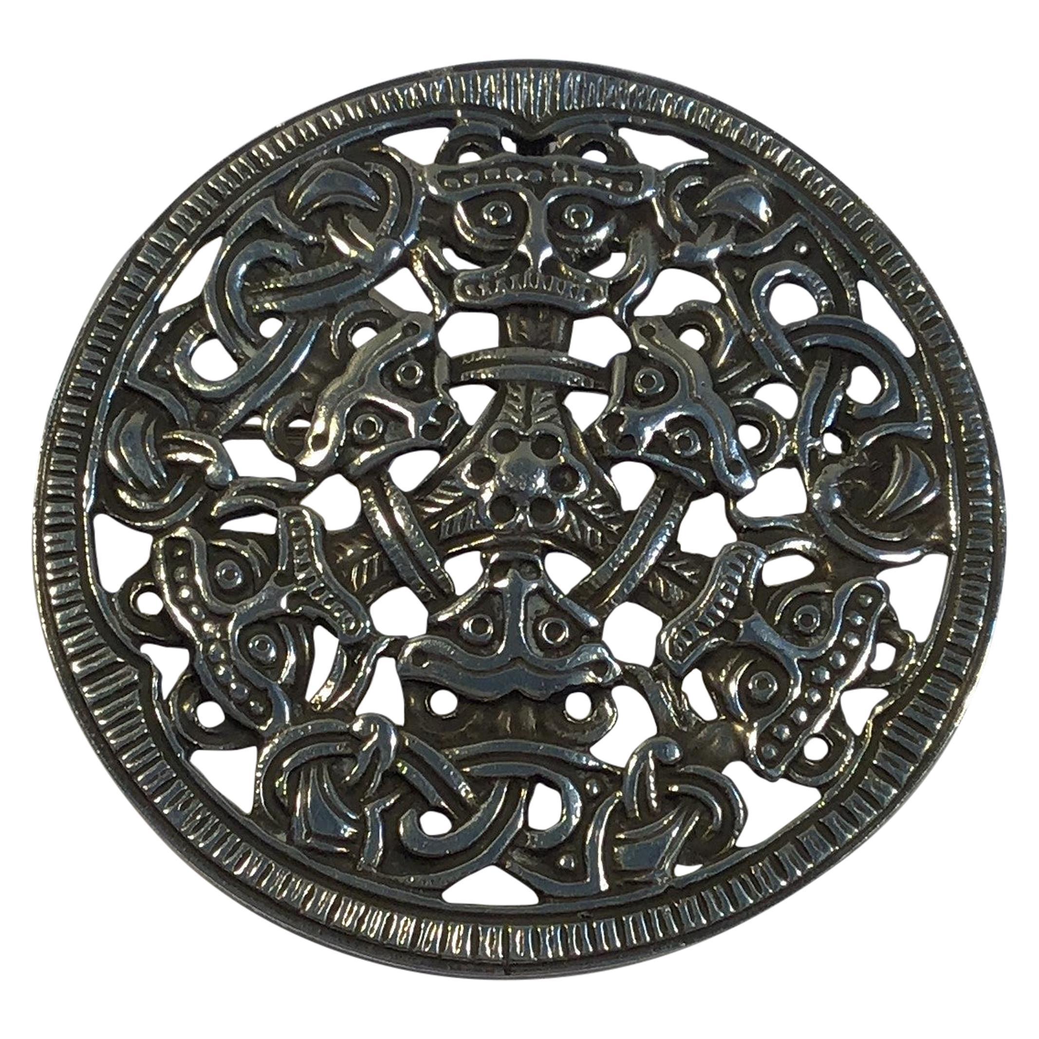 David Andersen Sterling Silver Viking Brooch