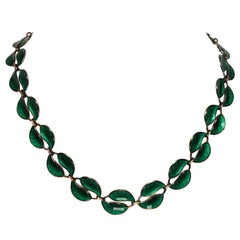 David Anderson Sterling Silver Green Leaf Necklace
