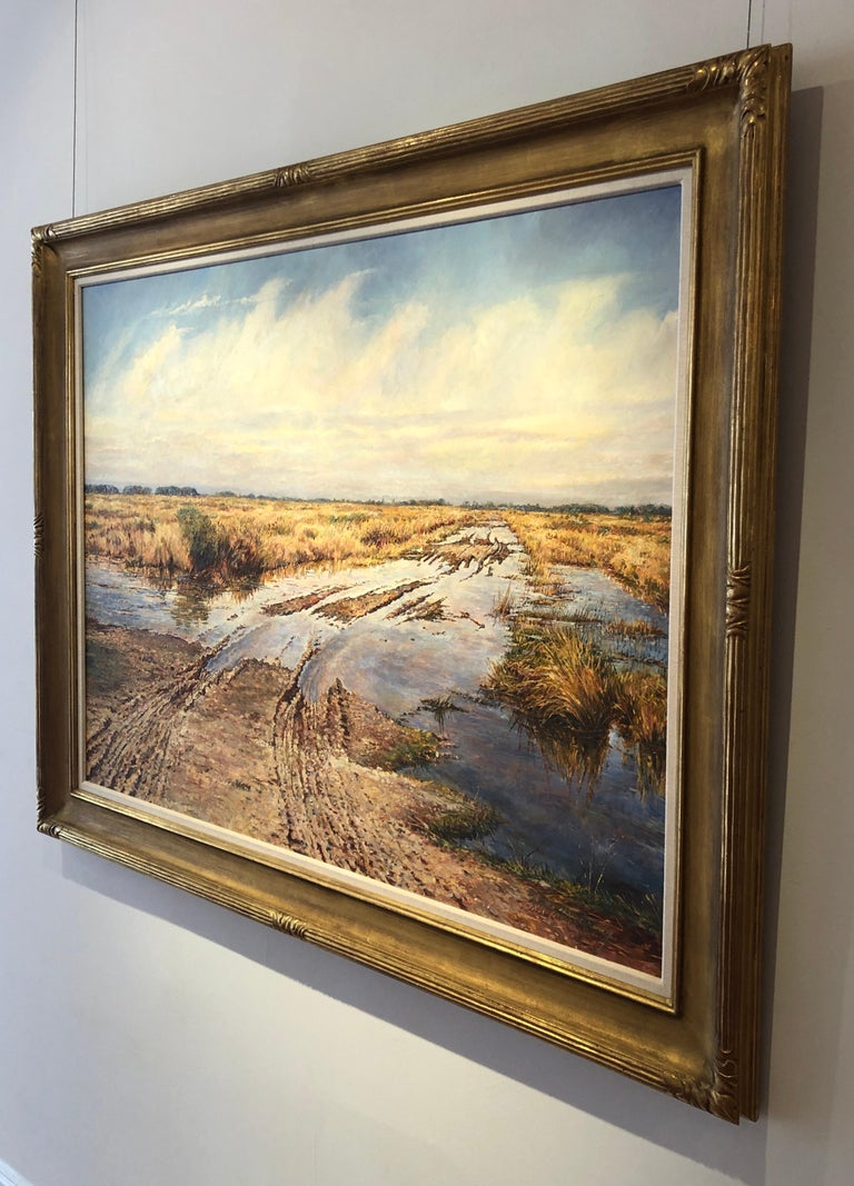 Winter landscape oil painting of a field with tire tracks by the late great American painter, David Armstrong.  Framed dimensions are 44 1/2 x 56 inches.
