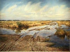 "David Armstrong, ""Tracks"", landscape of a field with tire tracks oil painting"