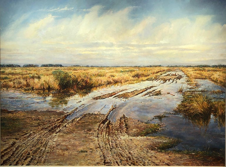 """David Armstrong, """"Tracks"""", landscape of a field with tire tracks oil painting - Painting by David Armstrong"""