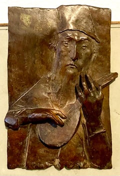 Bronze Sculpture Relief Troubadour Figurative American Modernist David Aronson
