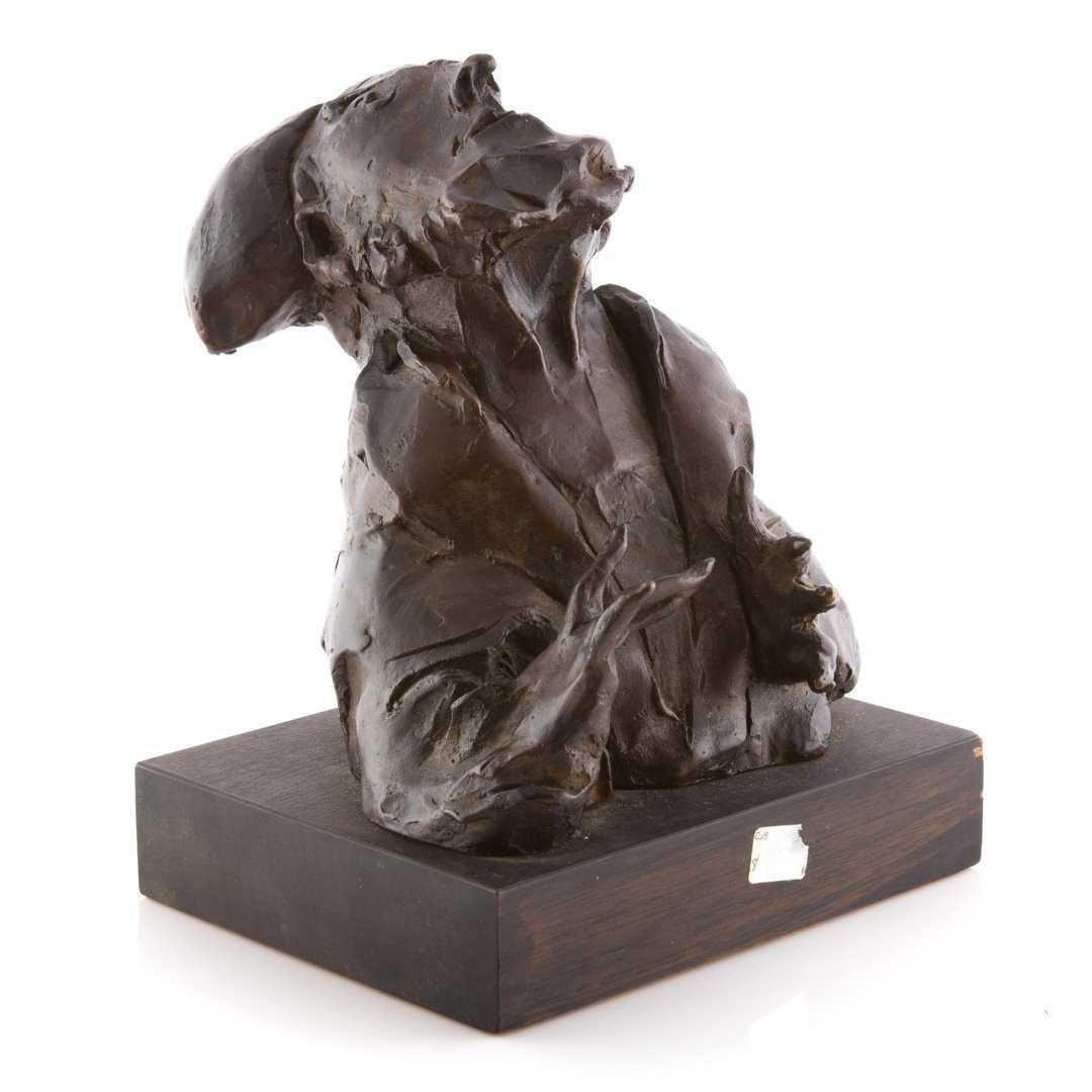"Judaica Bronze Sculpture ""Rabbi"" Figure Jewish American Boston Figural Modernist"
