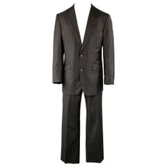 DAVID AUGUST 40 Black & Brown Stripe Wool Notch Lapel 34 x 30 Suit
