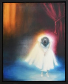 all That's Left (Vertical Figurative Painting on Panel of Woman in White Dress)