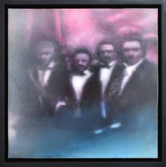 Assassins (Figurative Painting on Panel of Four Men in Tuxedos on Red)
