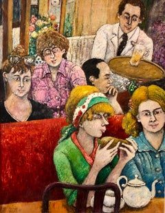 Israeli French Folk Art Naive Oil Painting Cafe Wine Bar Paris Colorful Fauvist