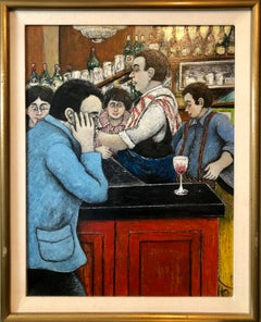 Israeli French Folk Art Naive Oil Painting Wine Bar in Paris Colorful Fauvist