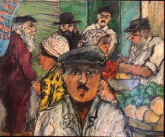 Shopping the Market Shuk Machane Yehuda Israeli Modernist Oil Pastel Painting