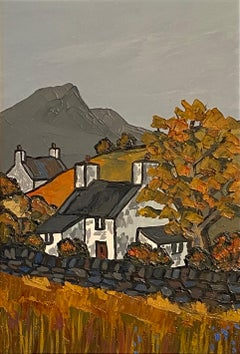 'In the Rhinogs' Contemporary Welsh Landscape Painting with Cottage & fields