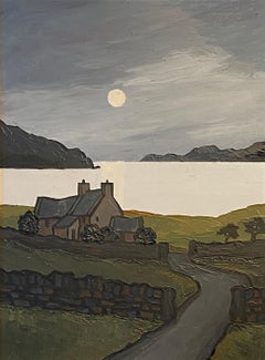 'Moonlit Bay' Welsh Landscape Painting of cottages, lake and the moon. Mountains