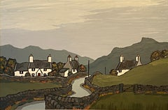 'Road to Betws Coed' Welsh Landscape painting of cottages, fields & moody sky