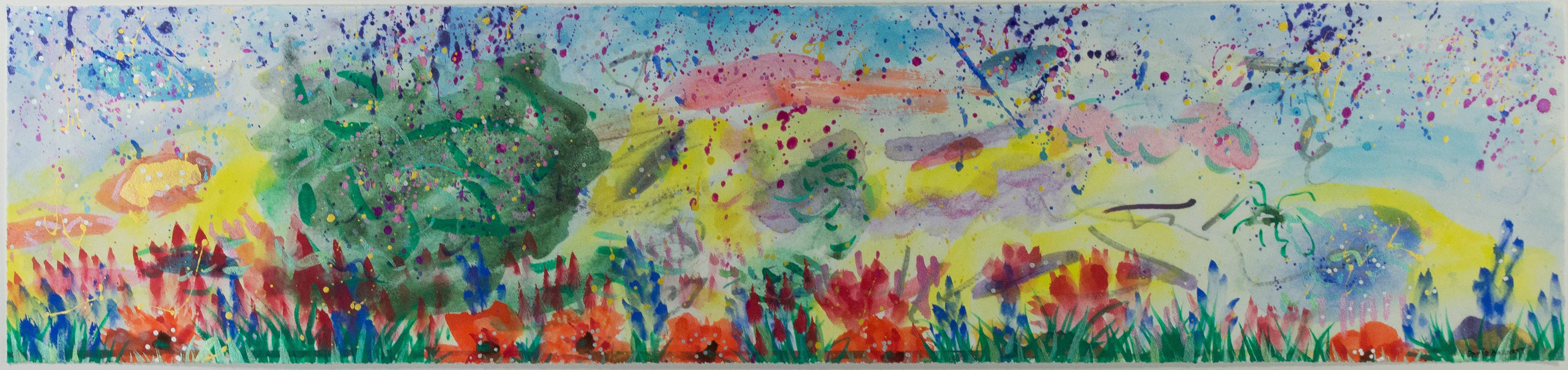 """Abstract with Grass and Poppies I,"" Mixed Media Landscape by David Barnett"