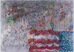 """Fireworks Series: Grand Finale,"" mixed media piece by David Barnett, signed"