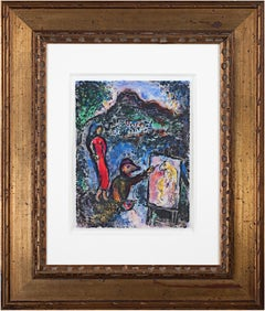 'Homage to Chagall - Near St. Jeannet' original signed mix media composition