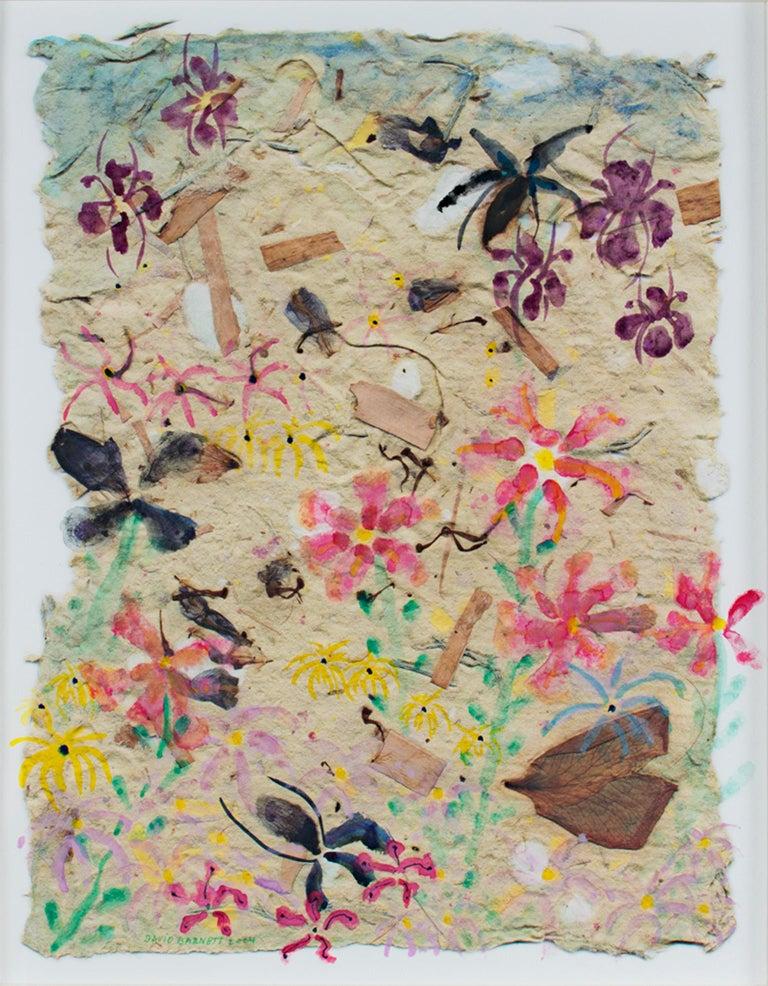 """Iris, Lilies, & Menarda,"" Original Mixed Media signed by David & Sarah Barnett - Mixed Media Art by David Barnett"