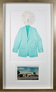 """Miami Crypto-Man: Homage to Magritte"" original mixed media by David Barnett"