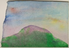 """Purple Mountain with Boomerang,"" original mixed media on paper by David Barnett"
