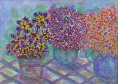 """Triple African Violet Hybrids,"" mixed media acrylic on canvas by David Barnett"