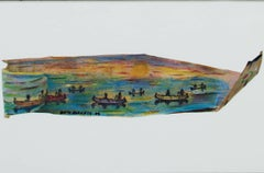 """Up North Series: Birch Bark Otter Lake,"" Mixed Media signed by David Barnett"