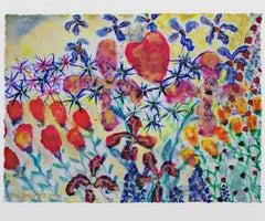 """""""Valentine's Day Garden with Bleeding Hearts,"""" mixed media by David Barnett"""
