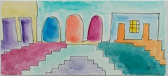 """Impressions of Mexico City: Three Doors,"" Original Watercolor by David Barnett"