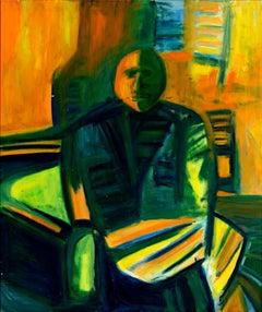 """Self Portrait,"" Abstract Acrylic on Masonite signed by David Barnett"