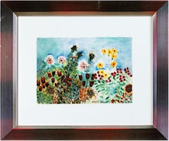 'Beaver Lake Flowers' signed giclée print on watercolor after 1996 original