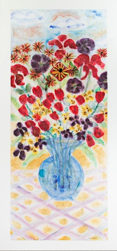 """Blue Vase with Stonehenge Face: Tulips & Lilies, AP I/XXV,"" Giclee Print signed"