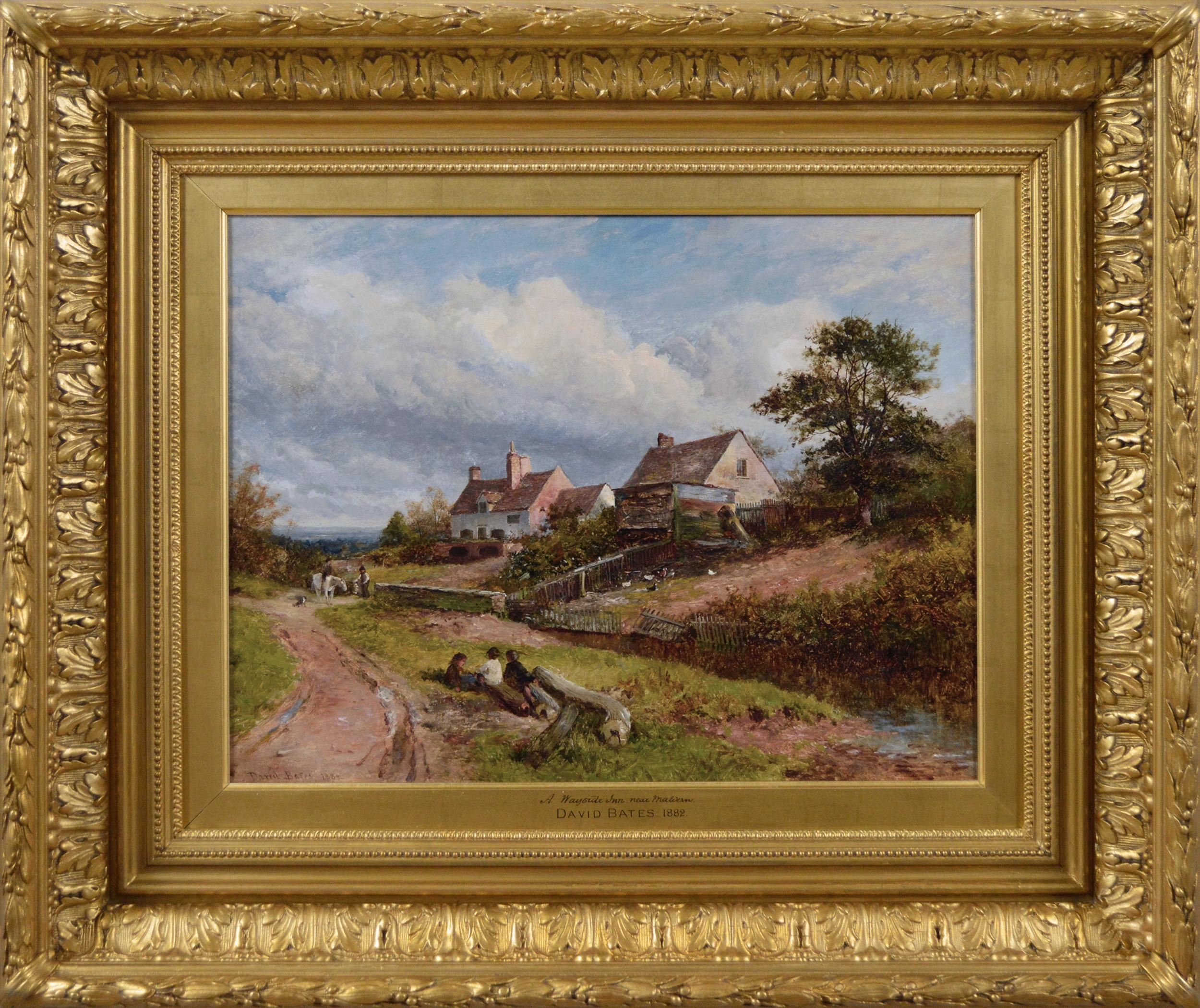 19th Century Landscape oil painting of an Inn near Malvern, Worcestershire