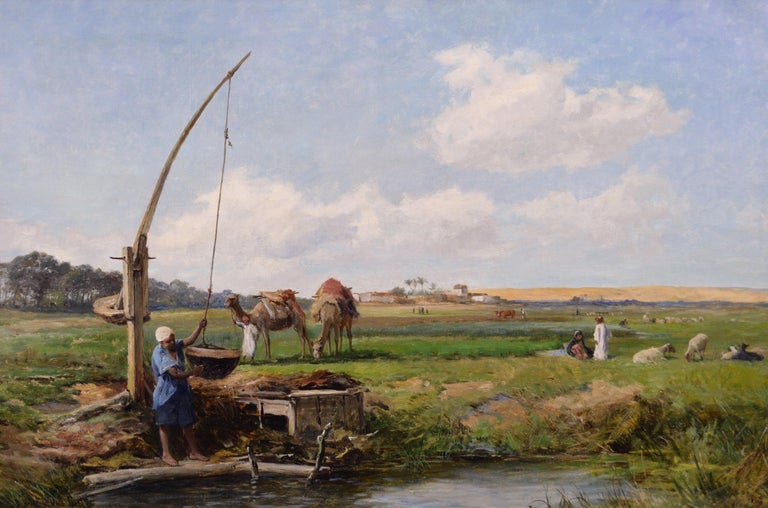 19th Century North African landscape oil painting - Painting by David Bates b.1840