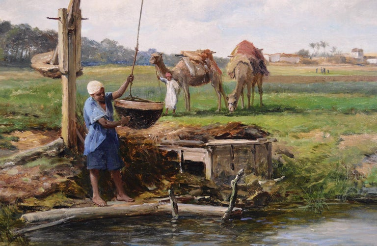 19th Century North African landscape oil painting - Victorian Painting by David Bates b.1840