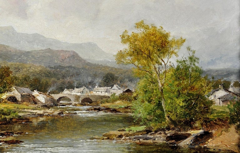 A village in mid-Wales. Original oil by this Royal Worcester apprentice. 1895 For Sale 6