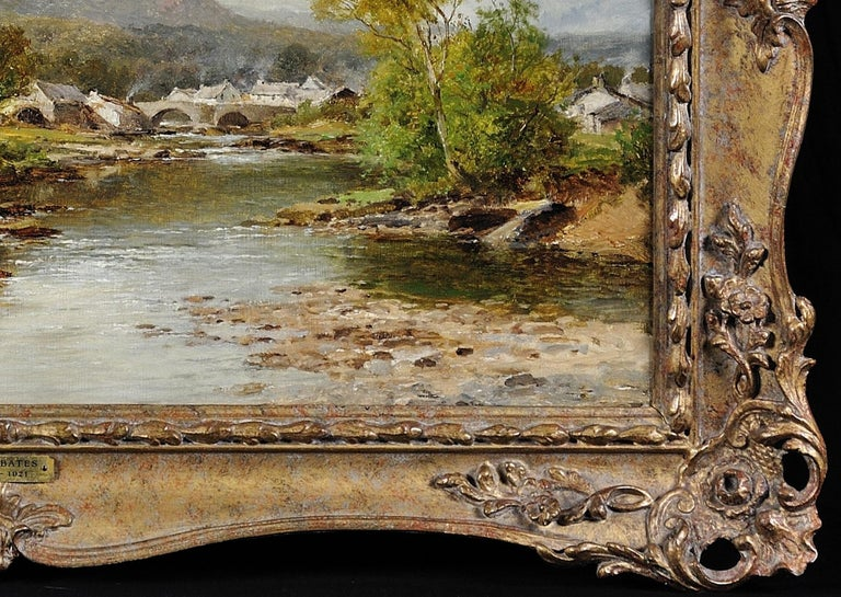 This original oil painting by David Bates, dated 1895, is presented and supplied in a mid 20th century ornate frame.  The frame dimensions are 54cm high x 74cm wide. The visible painting is 39cm high x 59.5cm wide (15.36inches high x 23.43inches